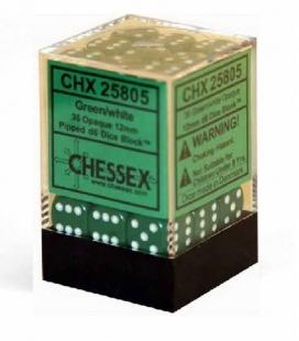 Bloque de 36 dados D6 Opaque Chessex 25805. Verde / Blanco