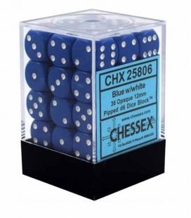 Bloque de 36 dados D6 Opaque Chessex 25806. Azul / Blanco
