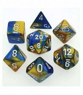 Set de 7 dados de varias caras Gemini Polyhedral Chessex. Azul /Oro / Blanco