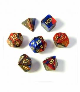 Set de 7 dados de varias caras Gemini Polyhedral Chessex. Azul / Rojo / Oro