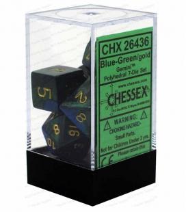 Set de 7 dados de varias caras Gemini Polyhedral Chessex. Azul / Verde / Oro