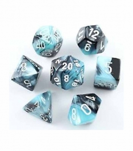 Set de 7 dados de varias caras Gemini Polyhedral Chessex. Negro / Shell / Blanco