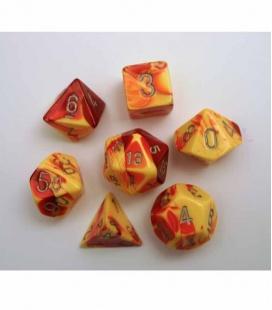 Set de 7 dados de varias caras Gemini Polyhedral Chessex. Rojo / Amarillo / Plata