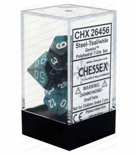 Set de 7 dados de varias caras Gemini Polyhedral Chessex. Acero / Teal / Blanco