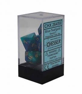 Set de 7 dados de varias caras Gemini Polyhedral Chessex. Azul / Teal / Oro