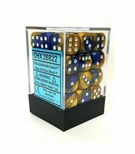 Bloque de 36 dados D6 Gemini Chessex 26822. Azul /Oro / Blanco