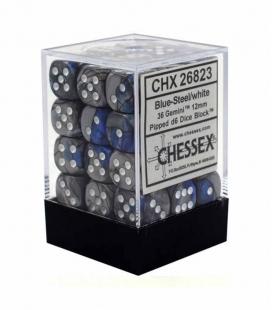 Bloque de 36 dados D6 Gemini Chessex 26823. Azul / Acero / Blanco