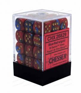 Bloque de 36 dados D6 Gemini Chessex 26829. Azul / Rojo / Oro