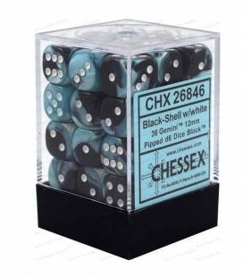 Bloque de 36 dados D6 Gemini Chessex 26846. Negro / Shell / Blanco