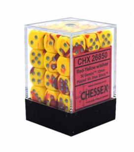 Bloque de 36 dados D6 Gemini Chessex 26850. Rojo / Amarillo / Plata