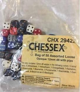 Bolsa de 50 dados variados Opaque D6 12mm Chessex 29422