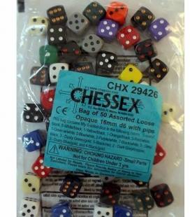 Bolsa de 50 dados variados Opaque D6 16mm Chessex 29426