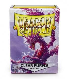 Fundas Standard Dragon Shield Matte Color Clear Purple - Paquete de 100