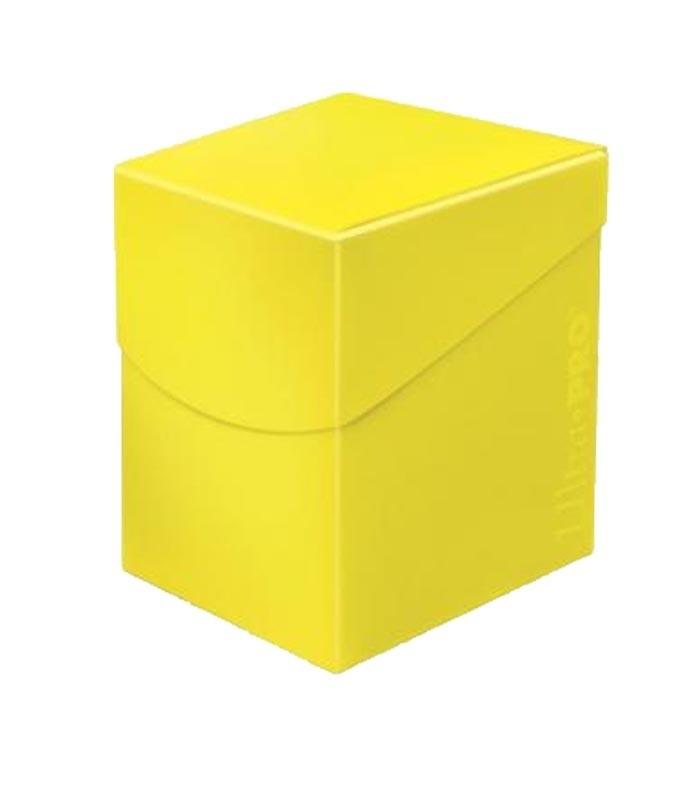 Caja de mazo para cartas Eclipse 100 Ultra Pro. Para 100 cartas. Color Amarillo