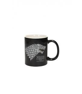 Taza cerámica negra blanca Stark. Juego de Tronos