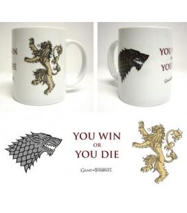 Taza cerámica blanca You win or you die. Juego de Tronos