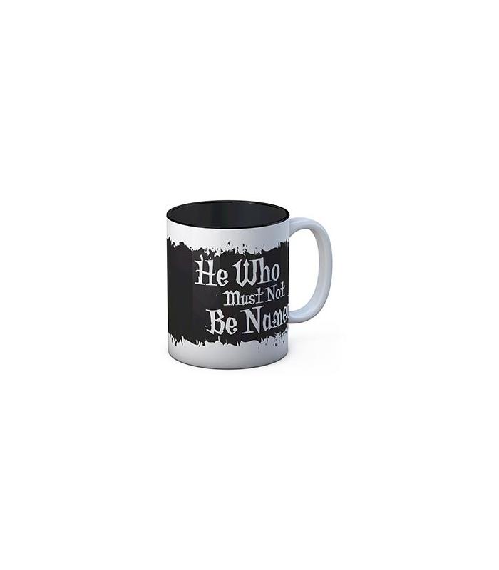 Taza  blanca Quien no debe ser nombrado. Harry Potter