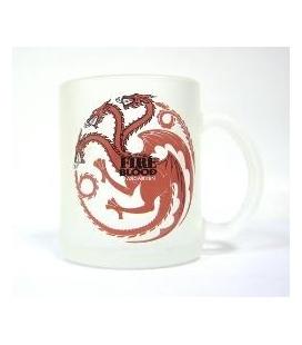 Taza vidrio translucida Targaryen. Juego de Tronos