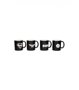 Set de 4 Tazas la Liga de la Justicia Blanco y Negro. DC Comics