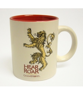 Taza cerámica blanca roja Lannister. Juego de Tronos