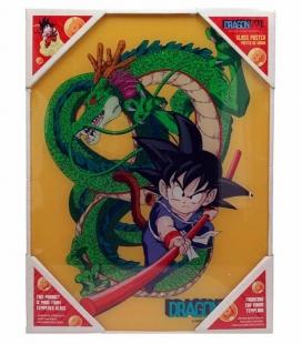 Póster de Vídrio Goku Niño y Shenron 30x40